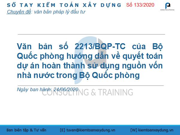 Văn bản số 2213/BQP-TC